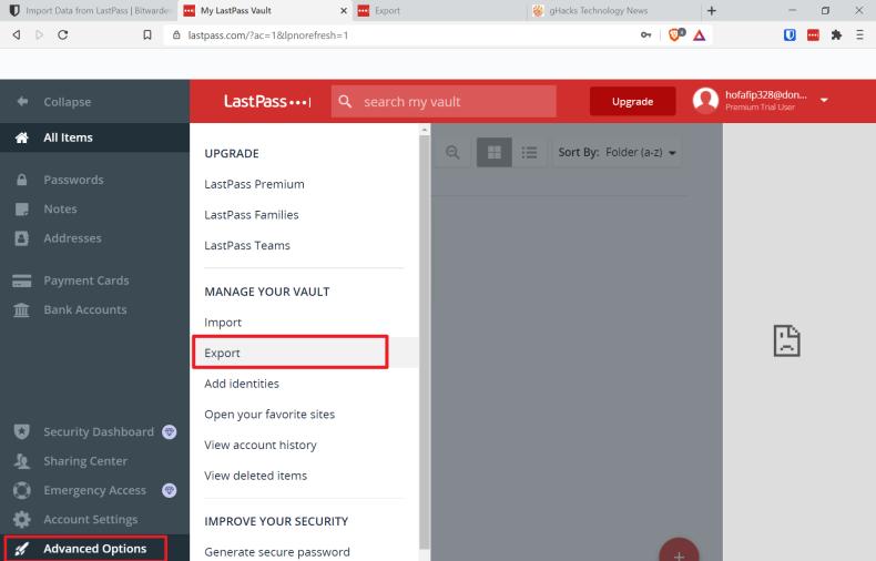 lastpass export passwords