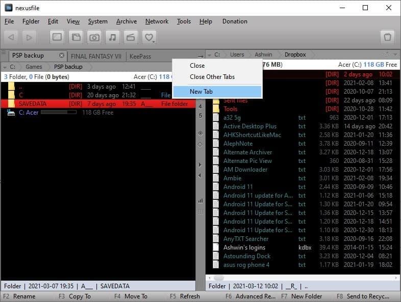Barra della scheda del file NexusFile