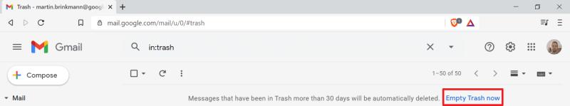 gmail svuota cestino
