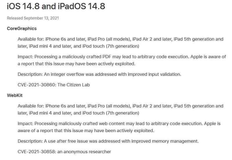 Aggiornamento di sicurezza di Apple iOS per prevenire l'exploit ForcedEntry
