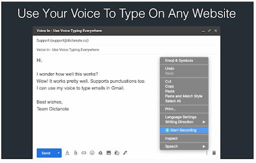 L'estensione Voice In Chrome
