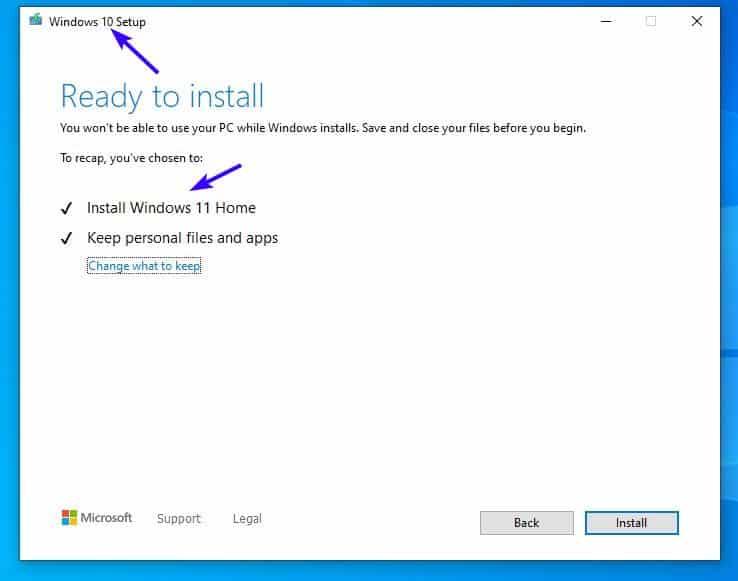 Installa Windows 11 sostituendo un file di Windows 10