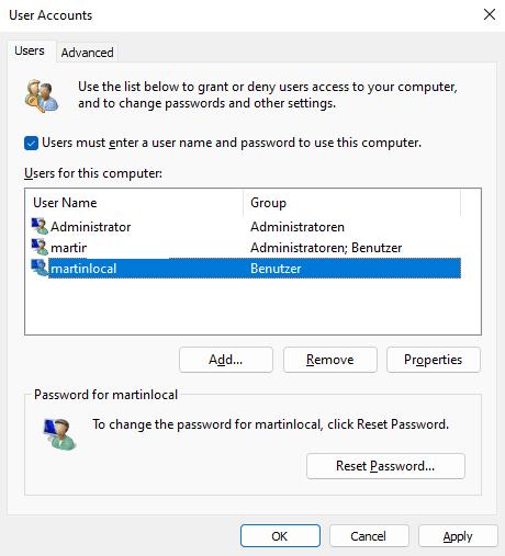 accesso automatico all'account Windows 11 locale
