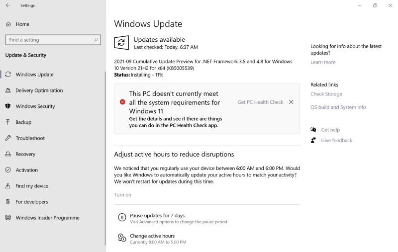 questo PC attualmente non soddisfa tutti i requisiti di sistema per Windows 11