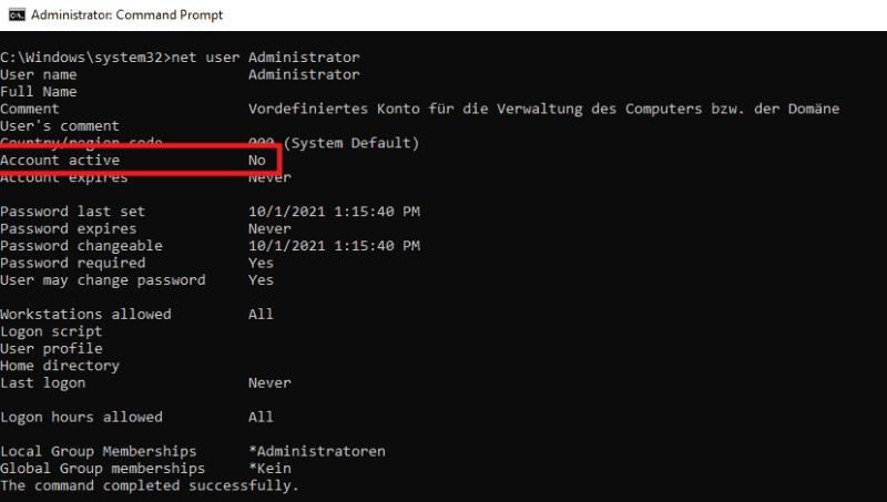 stato dell'account amministratore di Windows 11
