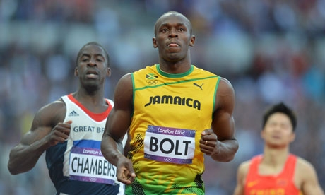 Usain Bolt and Dwain Chambers