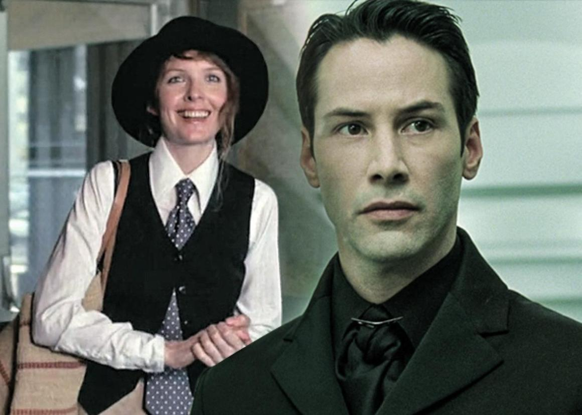 Diane Keaton in Annie Hall and Keanu Reeves in The Matrix.