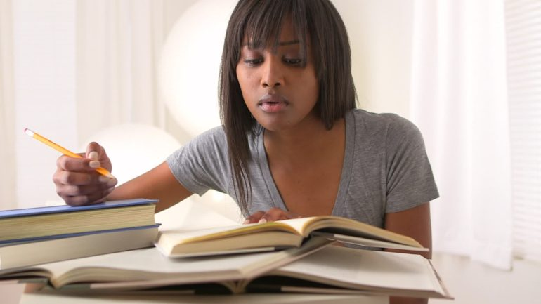 Black woman studying