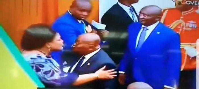 TRENDING PHOTO: President Nana Addo Lock Lips With Wife After Delivering 2019 SONA In Parliament