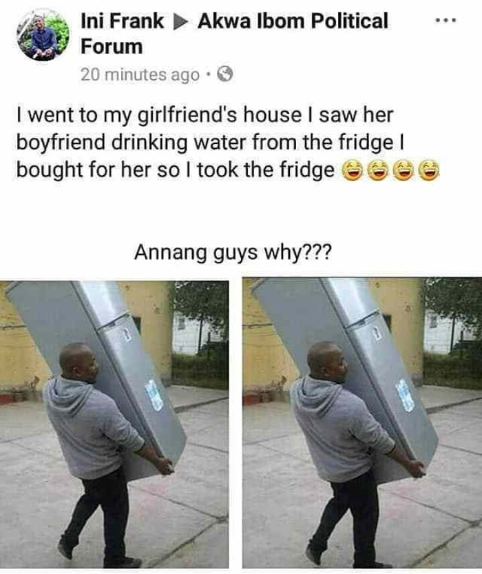 53241131 312238582779467 4081817350609563283 n - Jilted Lover Confiscates Refrigerator he Bought for his Girlfriend whilst they Were Dating — PHOTO