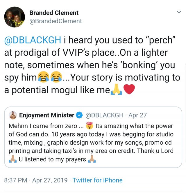 Screenshot 20190428 150615 Chrome e1556464207275 - SCREENSHOT: 'D- Black Used To Perch At Prodigal Of VVIP's Place, Sometimes When He's Hammering He'll Be Spying' – Tweeter User Reveals