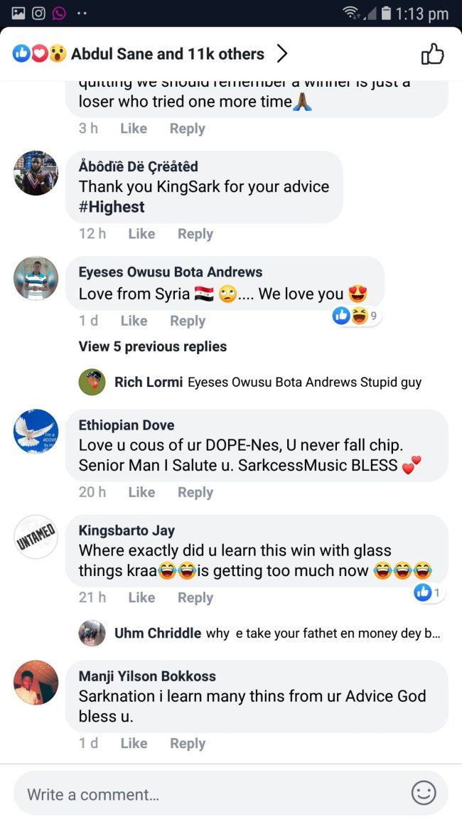 Screenshot 20190430 131315 Facebook - SCREENSHOTS: Sarkodie Fans Shower Praises On Him As He Lectures Them On How To Become Successful In Life — READ SOME