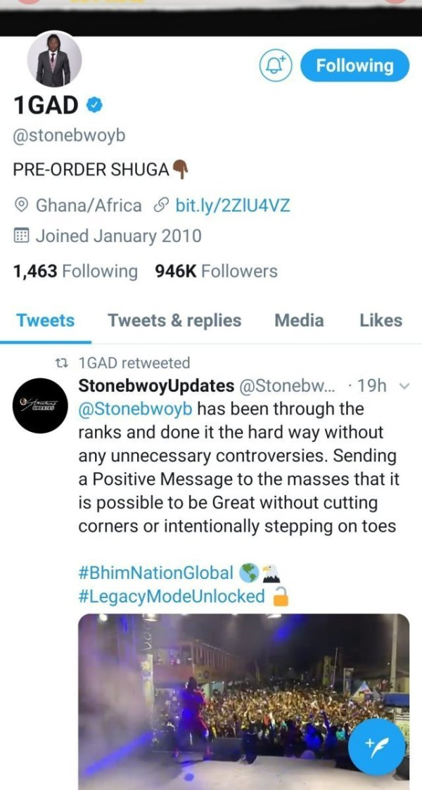 Stonediss - TWEET: Stonebwoy Retweeted A Jab Directed At 'Gbee Naabu' By A Bhimnation Fan — Check