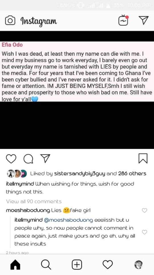 WhatsApp Image 2019 04 25 at 22.11.29 - Fake Girl Lying for Attention — Moesha Boduong Blasts Efia Odo over her Suicide Note