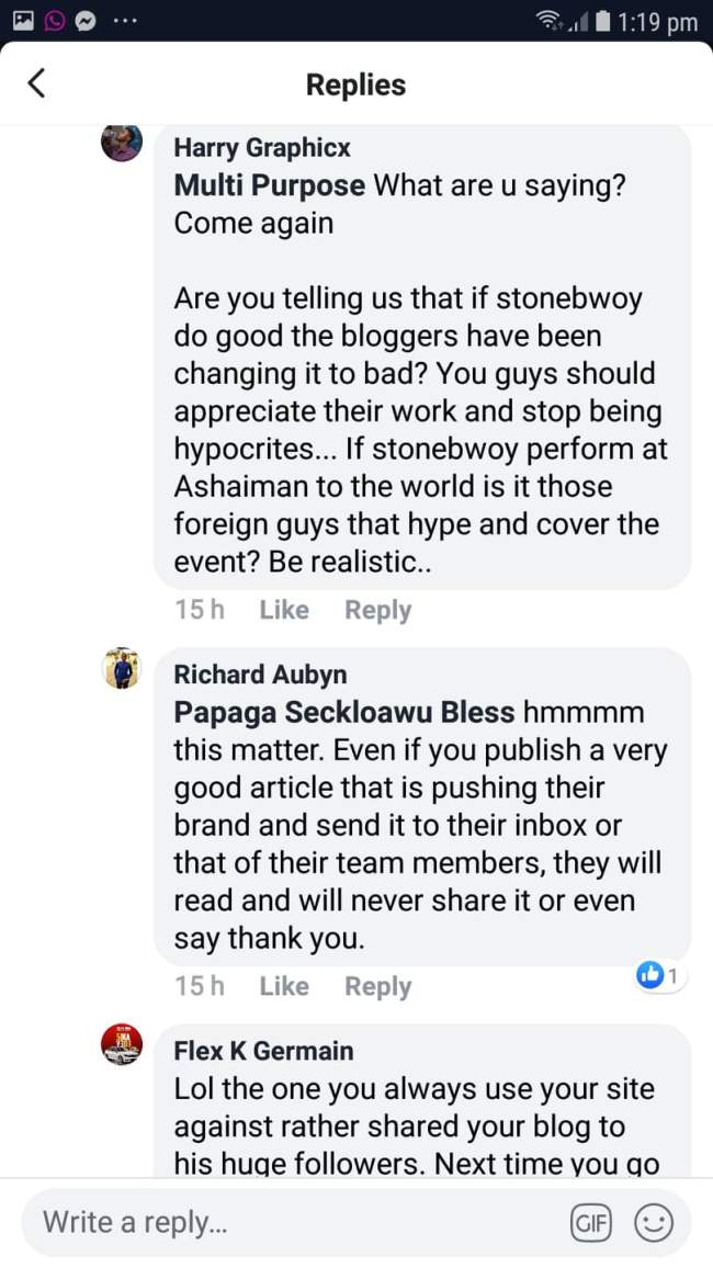 fbn - SCREENSHOTS: Social Media Users Blast Stonebwoy For Promoting A Foreign Blog — SEE