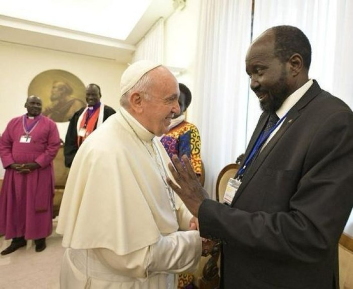 pope francis and sudanese president - PHOTOS: Sudanese Leaders Shocked After Pope Francis Kissed Their Feet Urging Them To Maintain Peace
