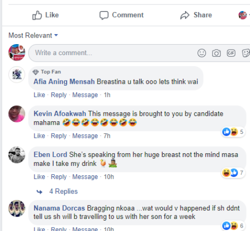 FB mocks Tracey - VIDEO+SCREENSHOTS: John Mahama's 'Daughter, Tracy Boakye Speaks From Her Huge Melons But Not From Her Head' — Facebook Users Blast The Hell Out Of Actress Tracy Boakye