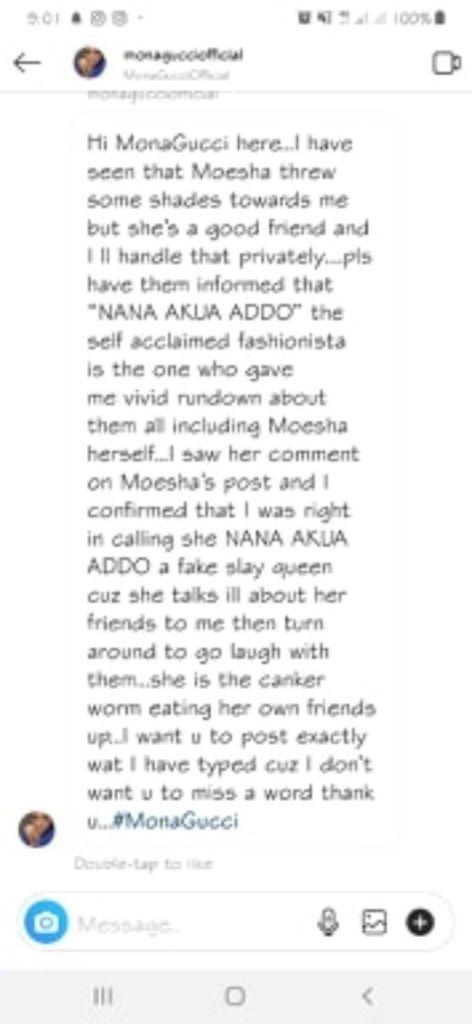 Nana Akua Addo Snitches On Moesha, Salma, Sandra Ankobiah – Releases Secret Details Of Their Slay Queen Business To Mona Gucci