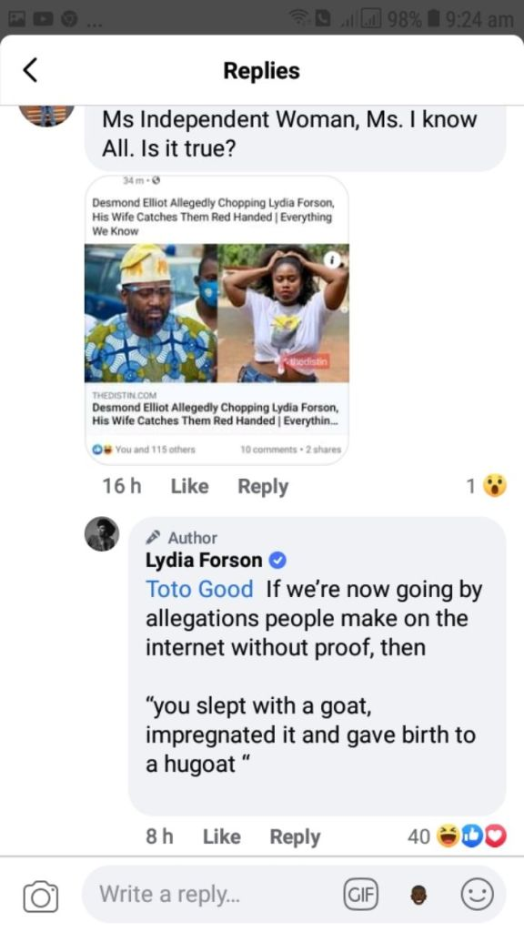Lydia Forson Responds To Claims That She Slept With Desmond Ellio