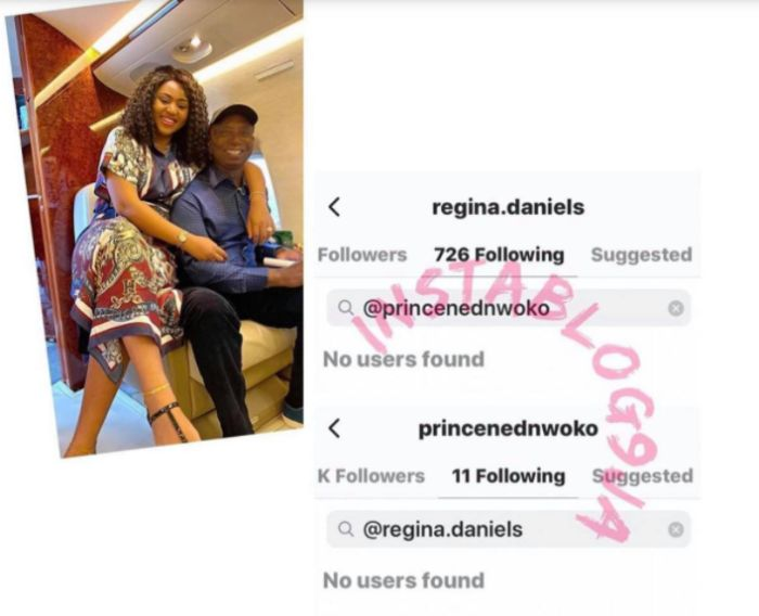 All Is Not Well: Regina Daniels and Hubby, Ned Nwoko Unfollows Each Other - Screenshots