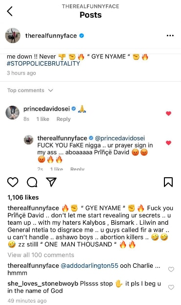 Funny Face Battles Prince Davido Osei's  in Public says he will drop His Dirty Life Secrets 2