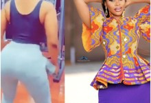 Photo of Netizens reaction To Benedicta Gafah hitting the gym with hip pad