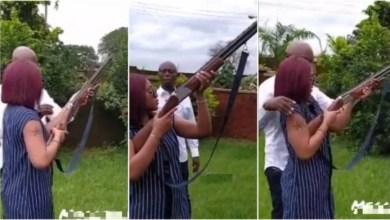 Photo of Ned Nwoko Teaches Wife Regina Daniels To fire Her First Gun – Video