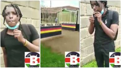 Brave Young Guy Smokes Weed At The Gate Of A Police Station - Video