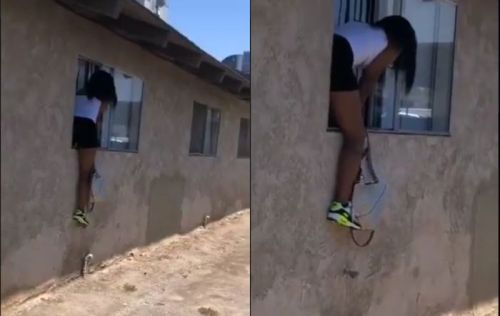 Husband's Side Chick Jumps Over De Window When She Heard Wife Knocking - Video Na Funny