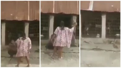 Photo of Wicked Lady Seen Flogging Stepson With Belt N Locking Him With Dogs – Video