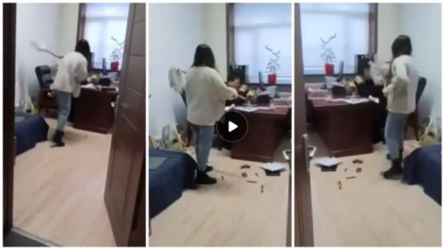 Lady Slap And Flogs Boss With Mop Stick After He Sent Her s£xual Messages - Video Below