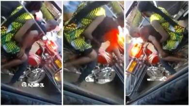 Photo of Okada Rider Seen On Camera Doing Romance With Female Passenger – Video Below