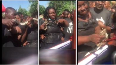 Photo of Lady Buries Dead Husband With A Live Snake – Video