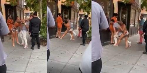 Lady Gives Boyfriend 10 Dirty Slaps In Public As Bystanders Watch - Video