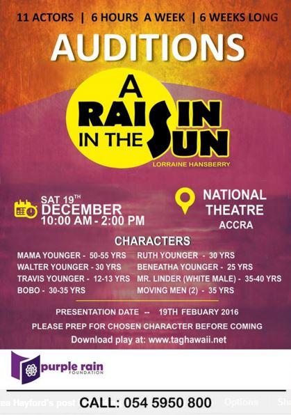 Audition Alert: Purple Rain Foundation seeks for actors for