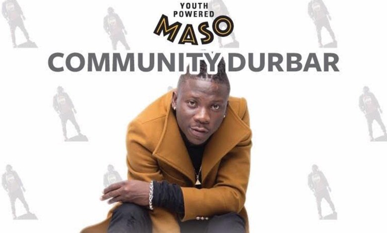 Photo of MASO Brand Ambassador, Stonebwoy, to interact with cocoa farmers