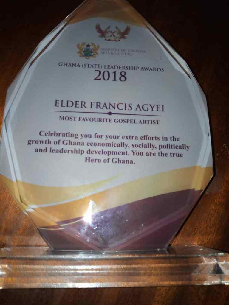 Elder Francis Agyei honoured at the Ghana (State) Leadership Awards