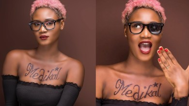 Photo of Petrah gets Medikal's name tattooed on her chest