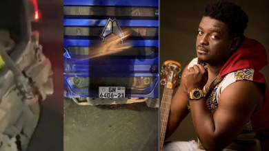Kumi Guitar survives collision with articulator truck; celebs and fans react!