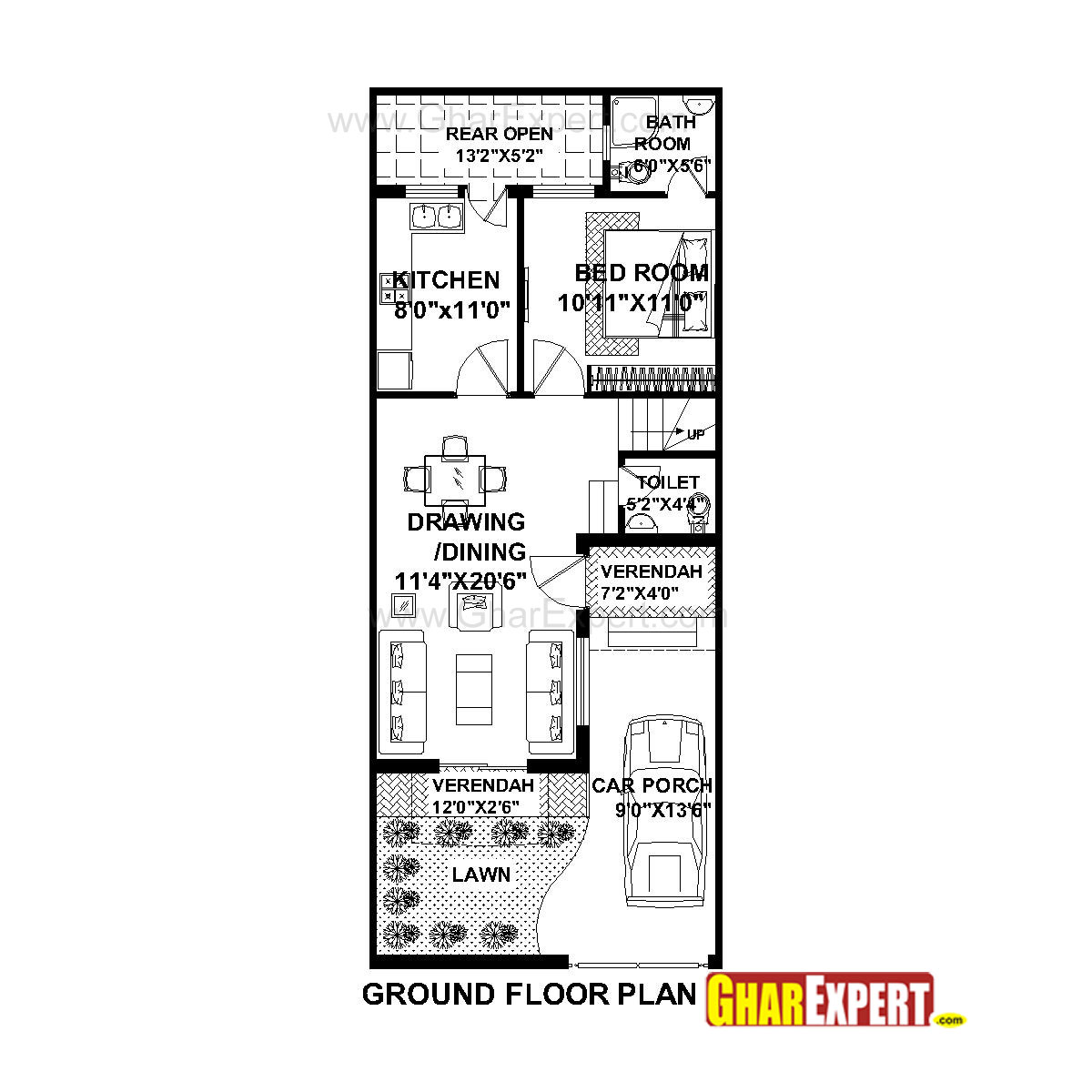 House Plan for 20 Feet by 50 Feet plot (Plot Size 111
