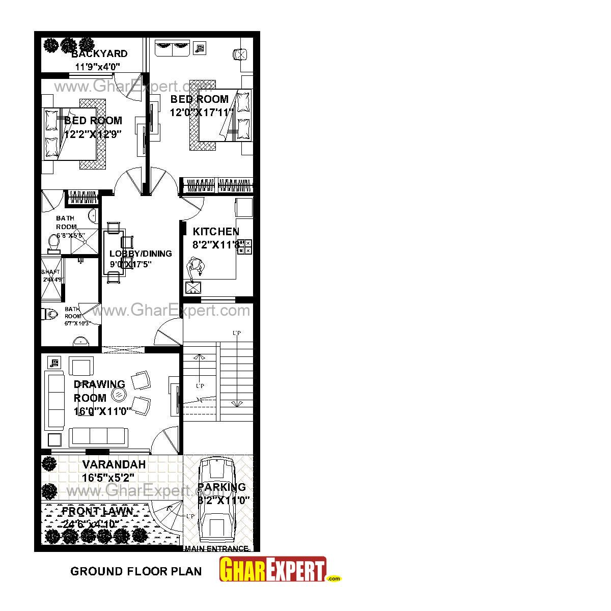 House Plan for 26 Feet by 60 Feet plot (Plot Size 173