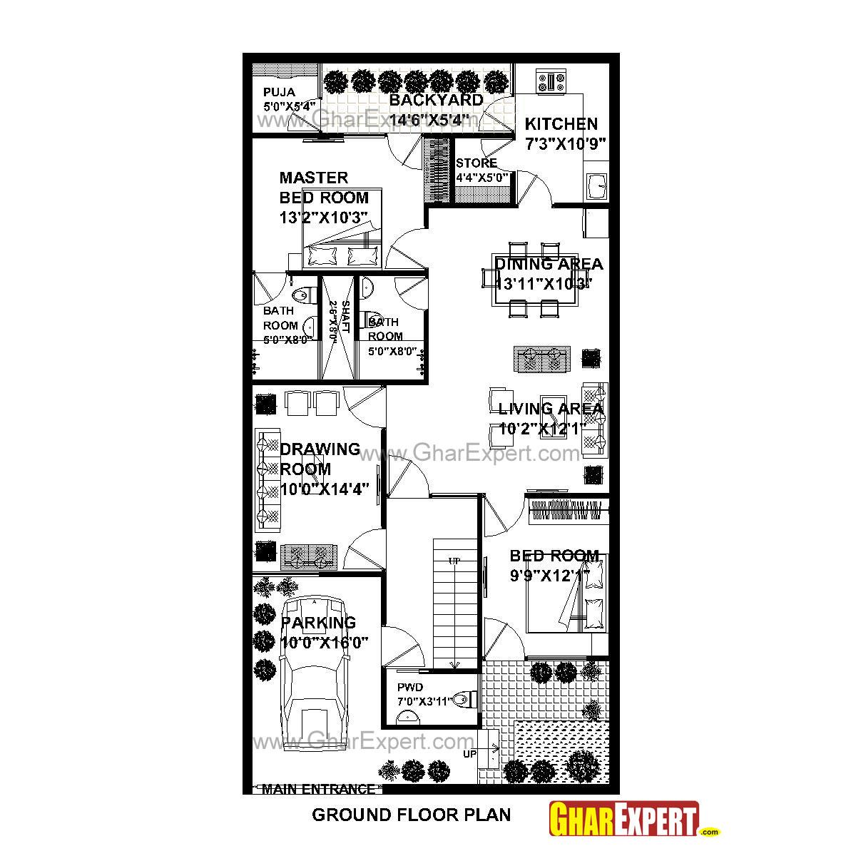 House Plan for 29 Feet by 57 Feet plot (Plot Size 183