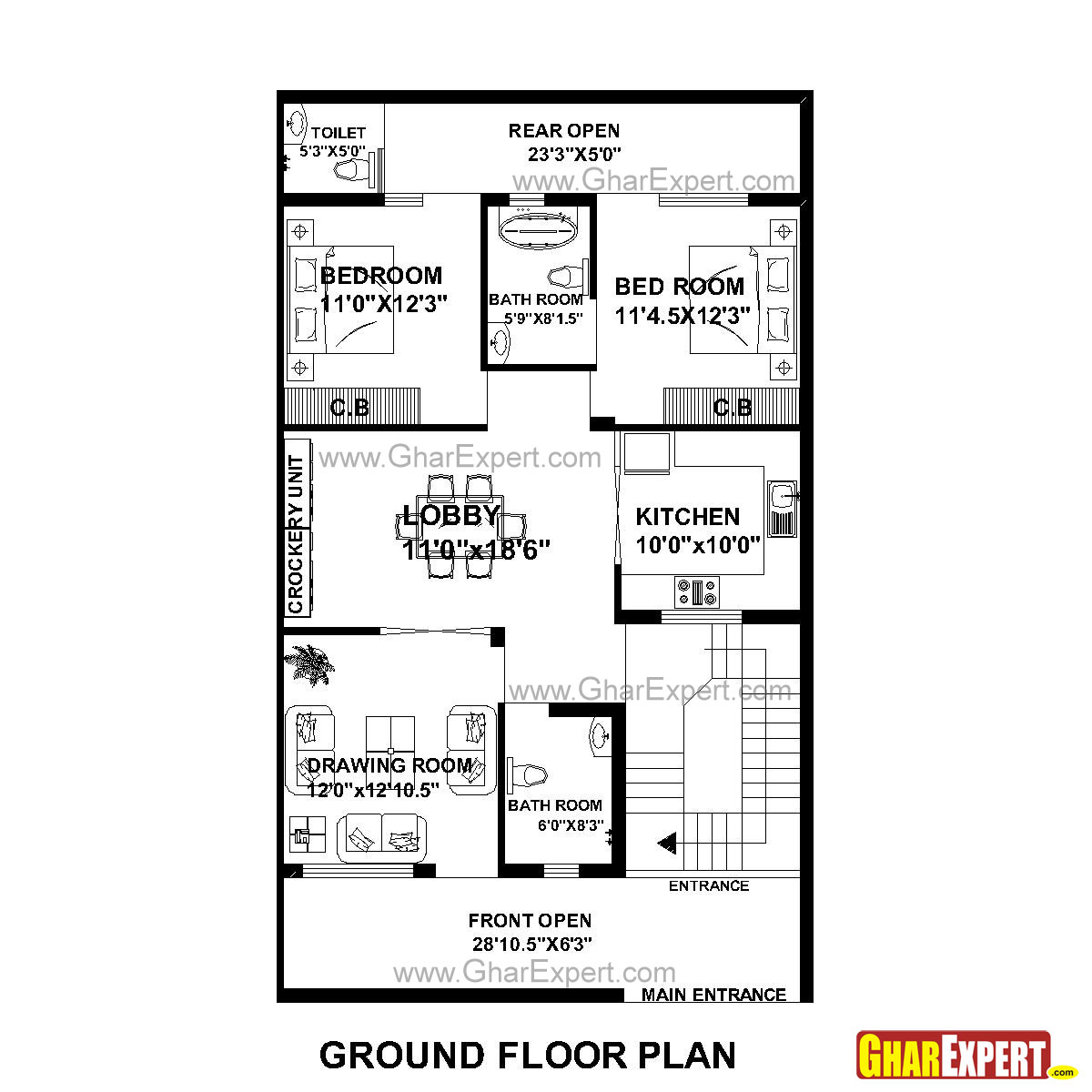 House Plan for 30 Feet by 51 Feet plot (Plot Size 170