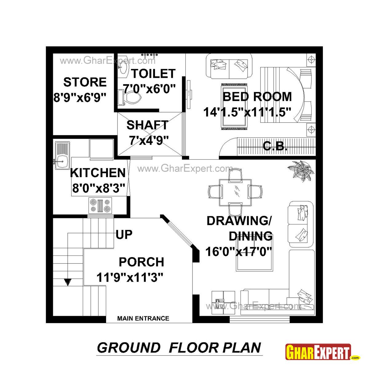 House Plan for 30 Feet by 30 Feet plot (Plot Size 100
