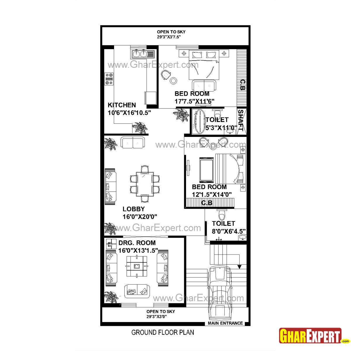 House Plan for 30 Feet by 60 Feet plot (Plot Size 200