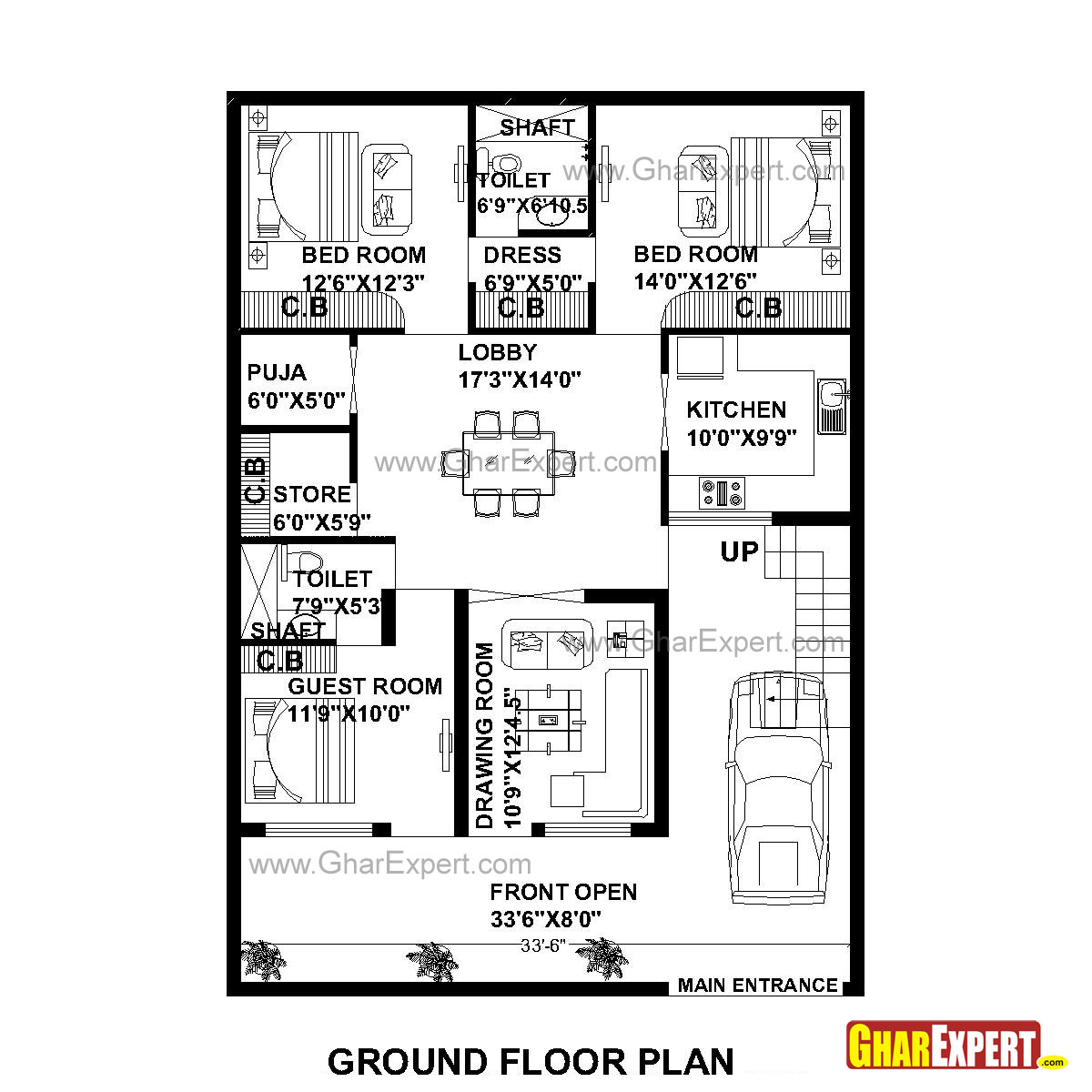 House Plan for 35 Feet by 50 Feet plot (Plot Size 195
