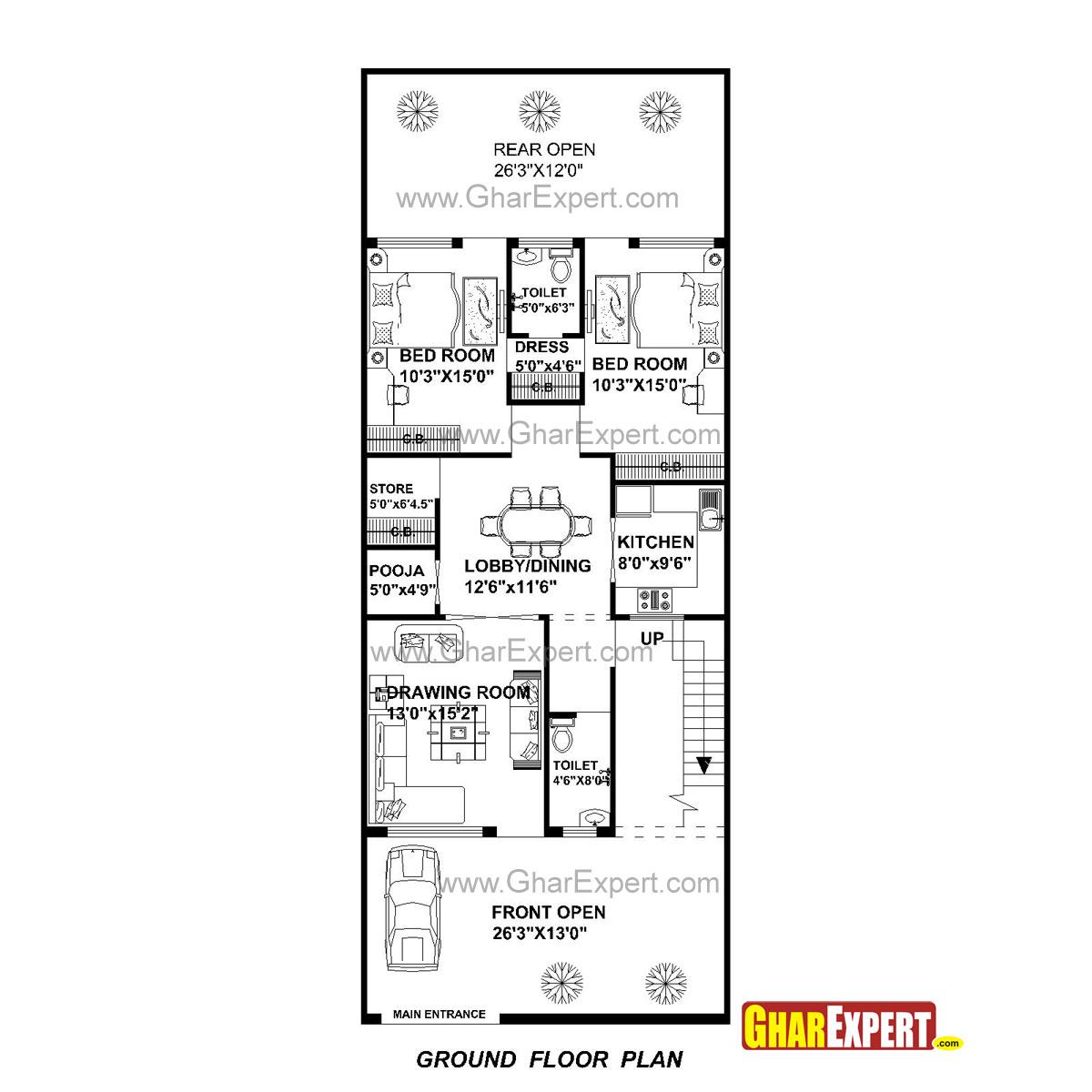 House Plan For 27 Feet By 70 Feet Plot Plot Size 210
