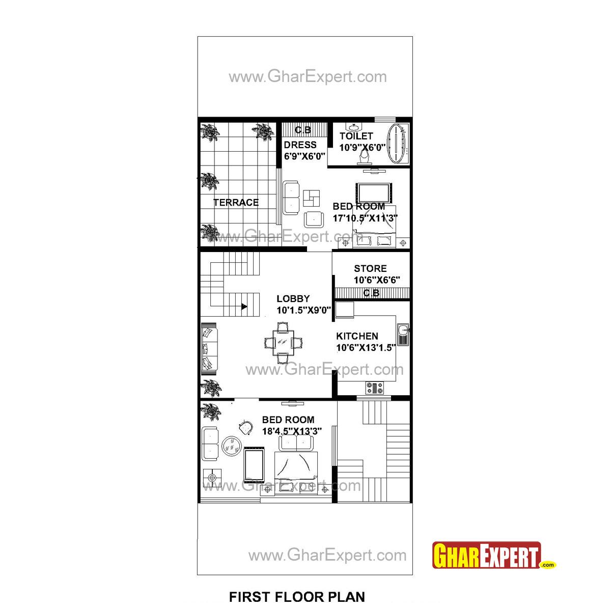 House Plan for 30 Feet by 75 Feet plot (Plot Size 250