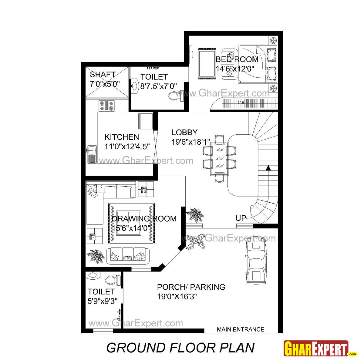 House Plan for 33 Feet by 49 Feet plot (Plot Size 170