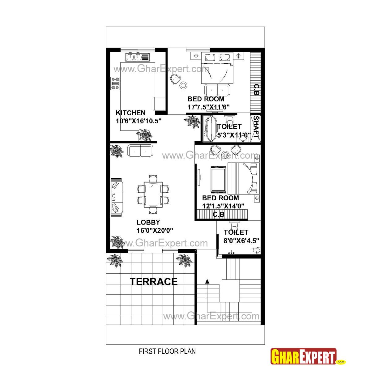 House Plan for 30 Feet by 60 Feet plot (Plot Size 200